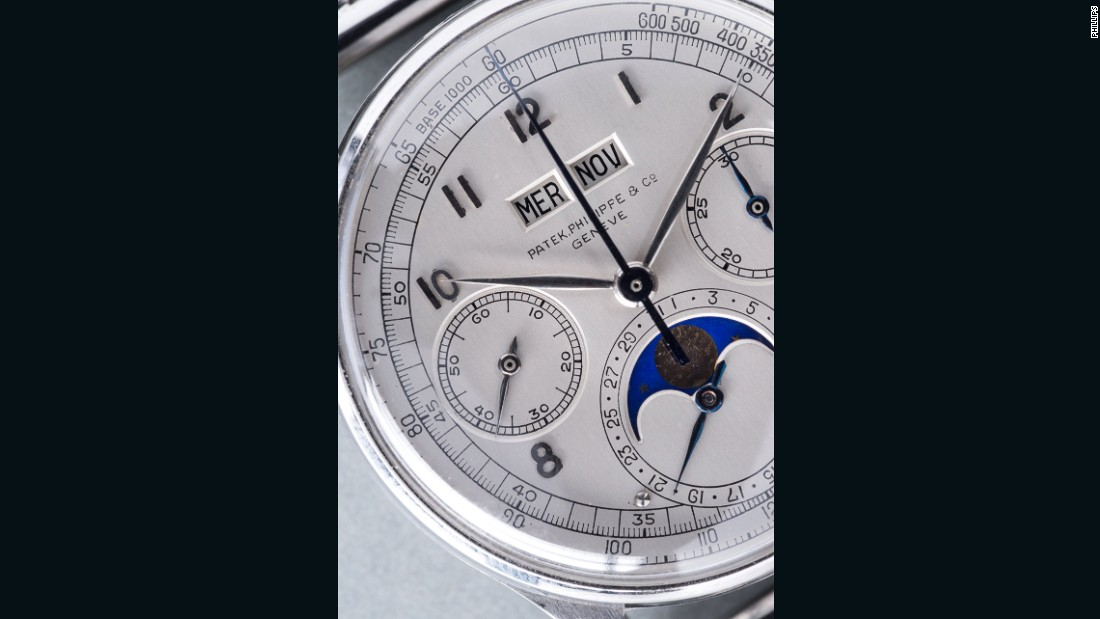 The watch, which features a moon phase indicator, Arabic hour markers, tachymeter scale and bracelet, sold for more than $11 million (CHF 11,002,000).