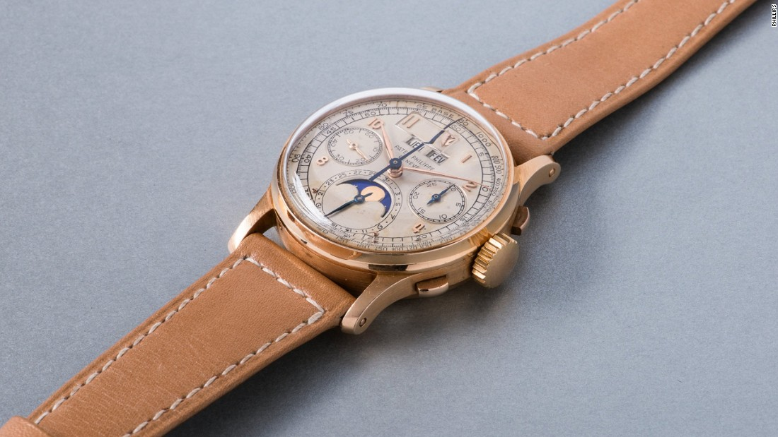 A pink gold Patek Philippe perpetual calendar chronograph wristwatch also sold for $1,488,740 (CHF 1,474,000).