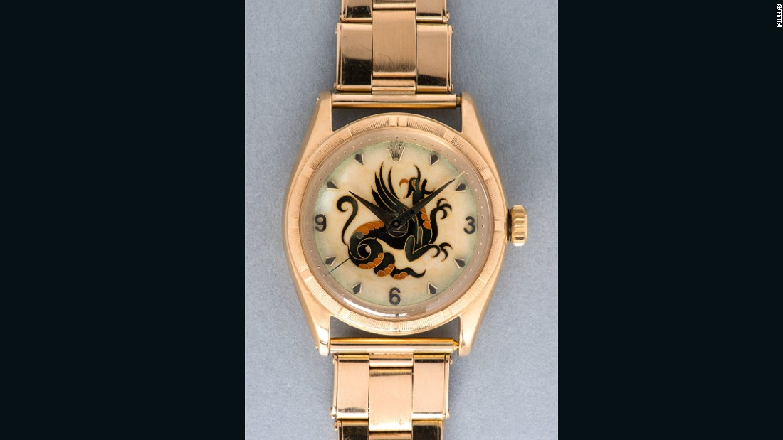 "A close-up of the ""The Dragon"" watch, which was made by Rolex, shows its distinctive motif."