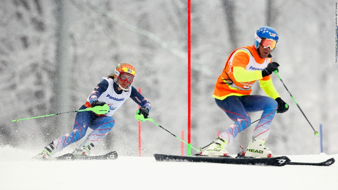 Visually impaired US Paralympic alpine skier Danelle Umstead completely relies on her guide, husband Rob, to direct her down the slopes. Pictured, Danelle and Rob, at the Sochi 2014 Paralympic Winter Games.