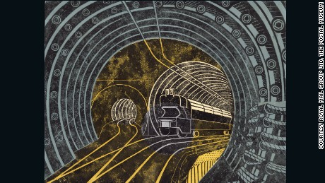 Artwork for a poster of the Post Office Railway by Edward Bawden c.1935