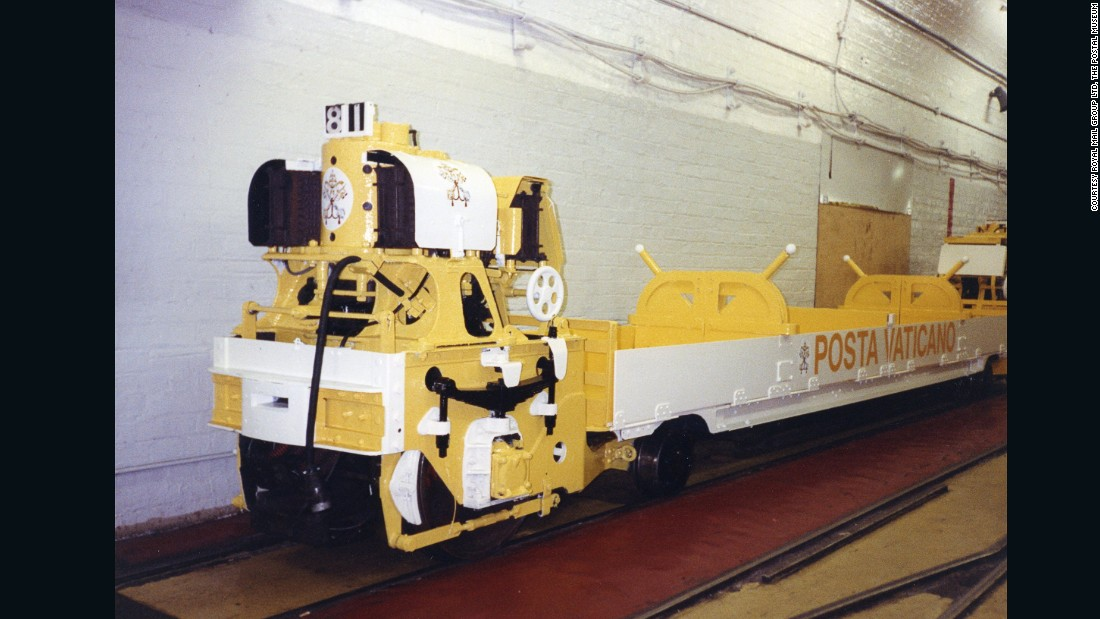A mail Rail train repainted as the Vatican's Posta Vaticano for filming of Hudson Hawk c. 1990.