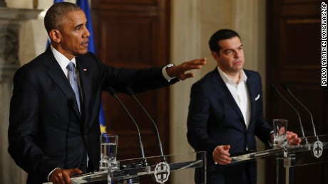 President Barack Obama and Greek Prime Minister Alexis Tsipras participate in a joint news conference at Maximos Mansion in Athens, Tuesday, November 15.