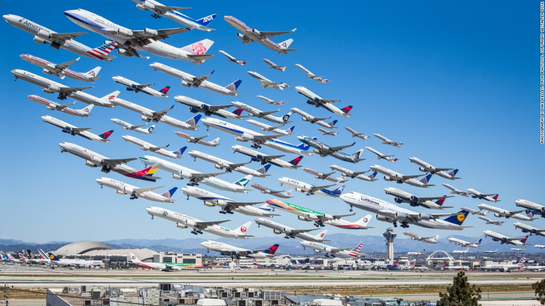 This composite by Mike Kelley shows a selection of the planes that departed from Los Angeles International Airport in a single day. (There were nearly 400 images for him to choose from.)