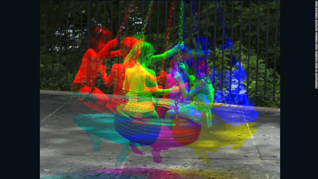 The Harris shutter technique used here sees the same frame exposed three times, with a different colored filter applied each time.