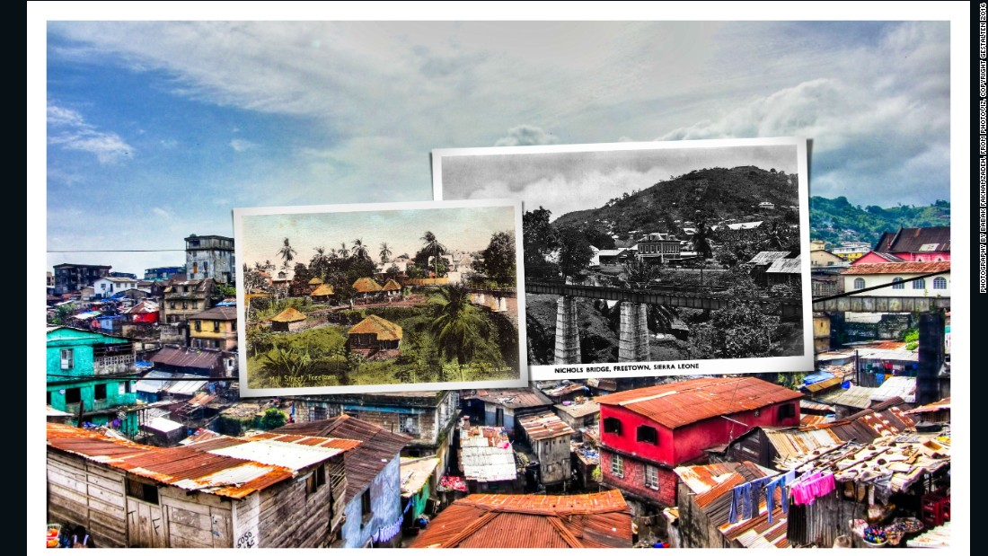 Placing colonial-era postcards depicting Freetown Sierra Leone over images of the city today, Babak Fakhamzadeh shows how the city has changed.