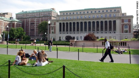 Students on the campus of the University of Columbia, north of Manhattan, at the border of Harlem.