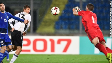 Thomas Mueller (center) didn't score in Germany's 8-0 win over San Marino.