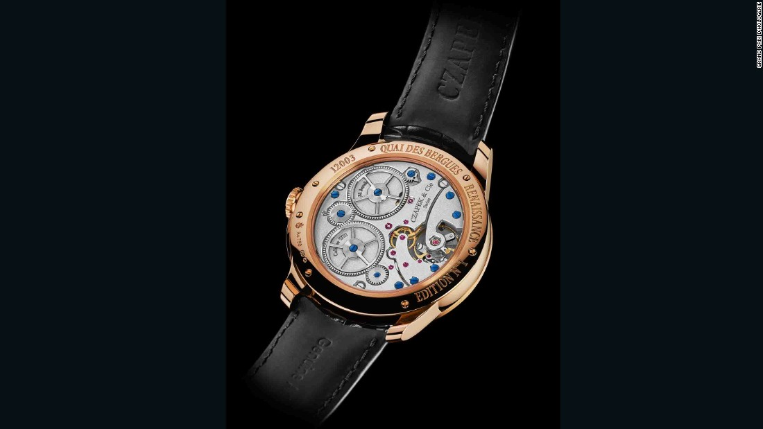 The 33 bis Quai des Bergues from Czapek Genève was awarded the prize for the best watch of 2016 as chosen by the general public. The red gold wristwatch has a 'Grand Feu' enamel dial and sells for $24,000.