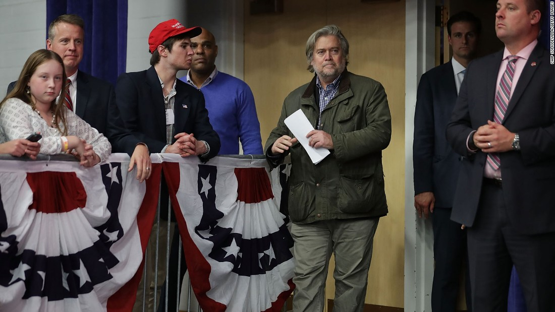 Bannon attends a Trump rally in Eau Claire, Wisconsin, on November 1.