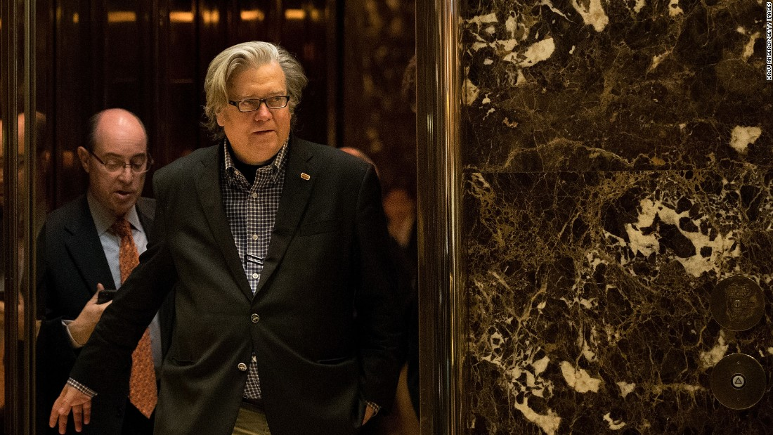 Bannon exits a Trump Tower elevator in New York in November 2016.
