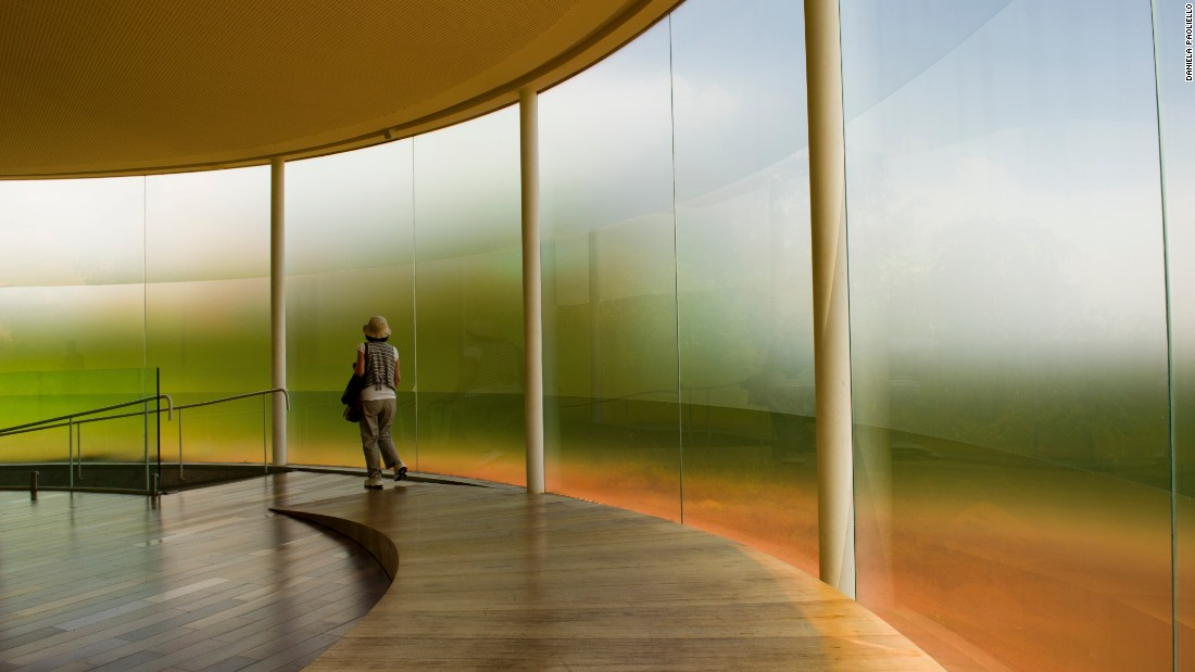"Inside the empty pavilion, the Earth's sound is played in real time. ""We hear a never-repeating pattern rich in frequencies and textures"" made possible by a system of equalization and amplification, Inhotim's website says."