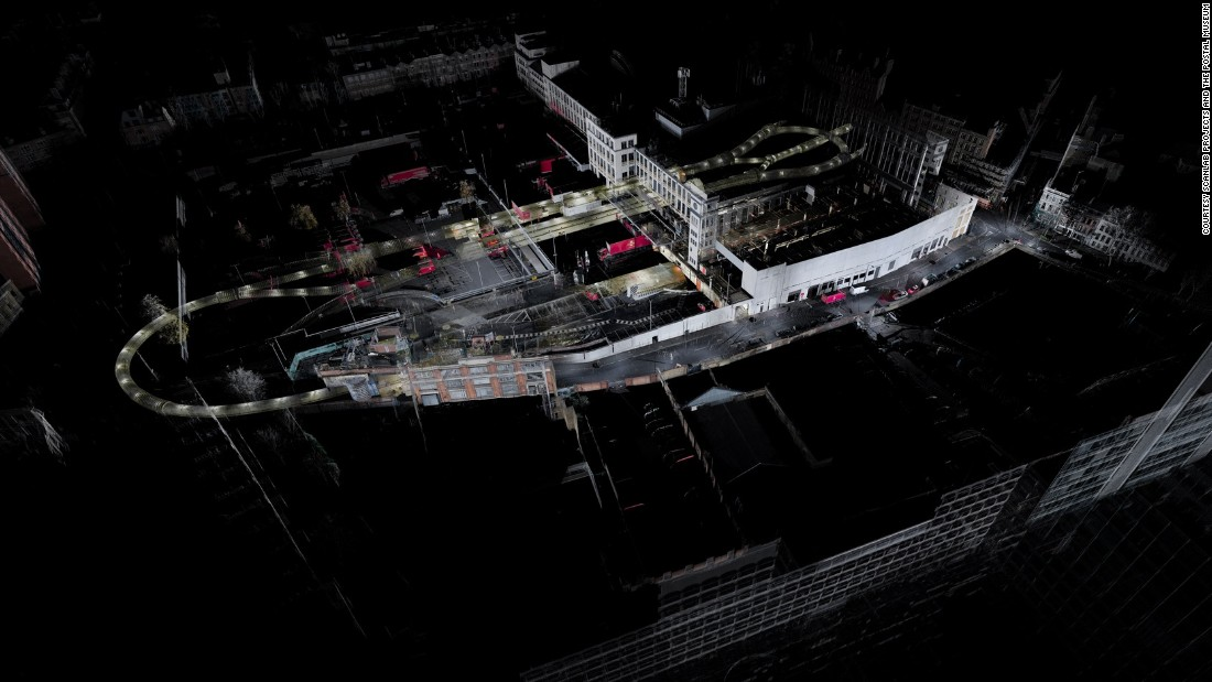 This aerial view of the Mail Rail under The Postal Museum -- seen from Farringdon Road -- shows the loop of the track where trains will soon be carrying curious visitors through a section of the tunnel.