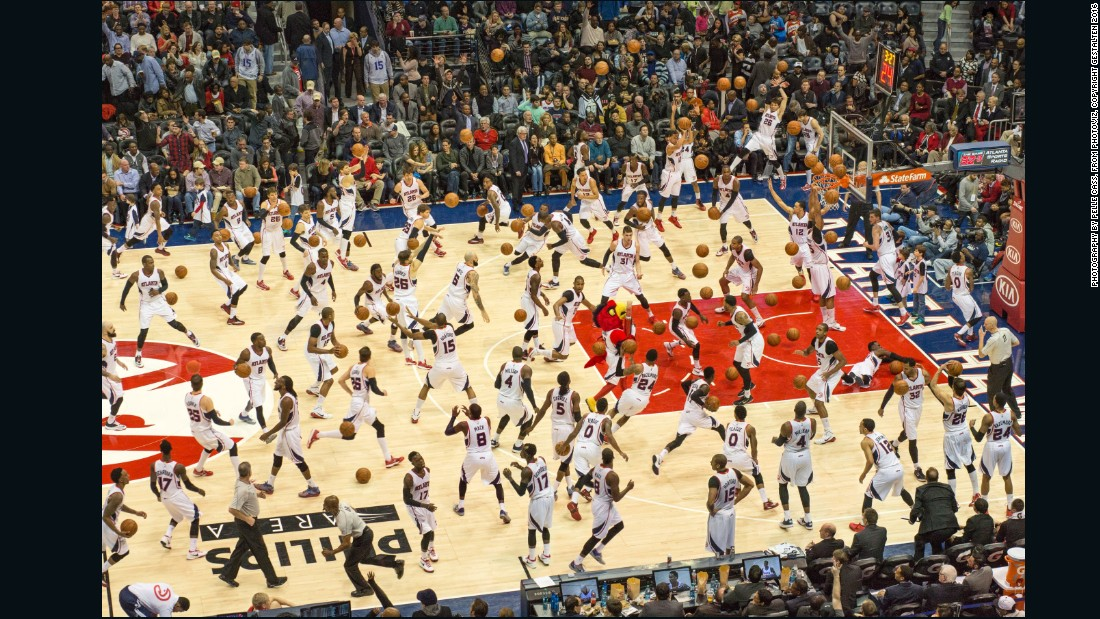 No, this isn't the world's most intense basketball practice. Pelle Cass took countless images of the same basketball game, and created a composite using only players from one team, repeated over and over.