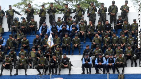 Soldiers take part in the official launch of the Trinational Force against organized crime in Nueva Ocotepeque, Honduras on November 15, 2016.  The Trinational Force is formed by soldiers and police of Honduras, El Salvador and Guatemala with the objective of fighting crime affecting the Central America's Northern Triangle. / AFP / Marvin RECINOS        (Photo credit should read MARVIN RECINOS/AFP/Getty Images)