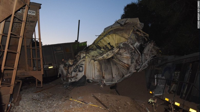 Some 20 cars derailed early Wednesday north of Citra, Florida, the Marion County Sheriff's Office says.