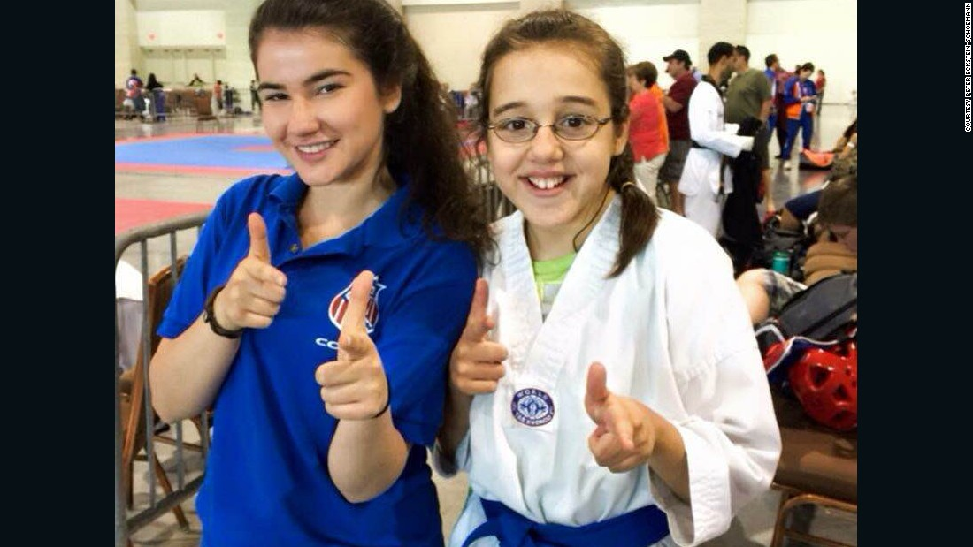 With help from founder Katarina Eckstein, left, several Breaking Barriers students have earned a black belt in the Korean martial art of Taekwondo.
