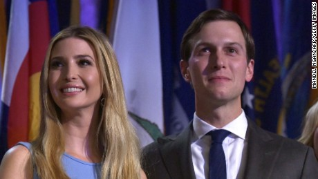 (FromL) Ivanka Trump, her husband Jared Kushner and Tiffany Trump smile as Republican presidential elect Donald Trump speaks during election night at the New York Hilton Midtown in New York on November 9, 2016.  Trump stunned America and the world Wednesday, riding a wave of populist resentment to defeat Hillary Clinton in the race to become the 45th president of the United States. / AFP / MANDEL NGAN        (Photo credit should read MANDEL NGAN/AFP/Getty Images)