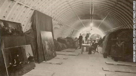 Artworks stored in King Edward Building Tunnel during First World War.