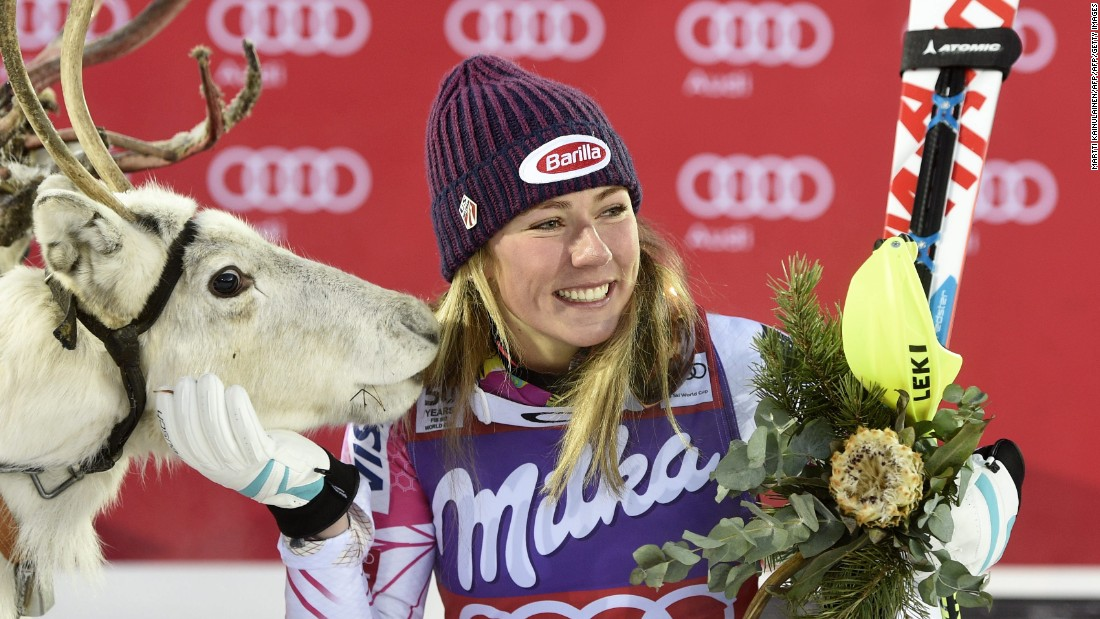 Shiffrin has enjoyed a storming start to the season after slalom wins in Levi, Finland, and Killington, USA, topping the overall standings with 325 points. After victory in Levi, Shiffrin, like the male champion, was gifted a reindeer.