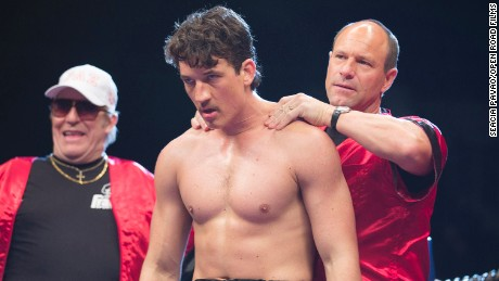 "Ciaran Hinds, Miles Teller and Aaron Eckhart in ""Bleed for This."""