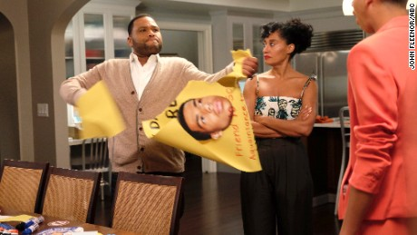 Anthony Anderson, Tracee Ellis Ross and Marcus Scribner in an episode of 'black-ish' in which a high school election took on a bigger meaning for the Johnsons.