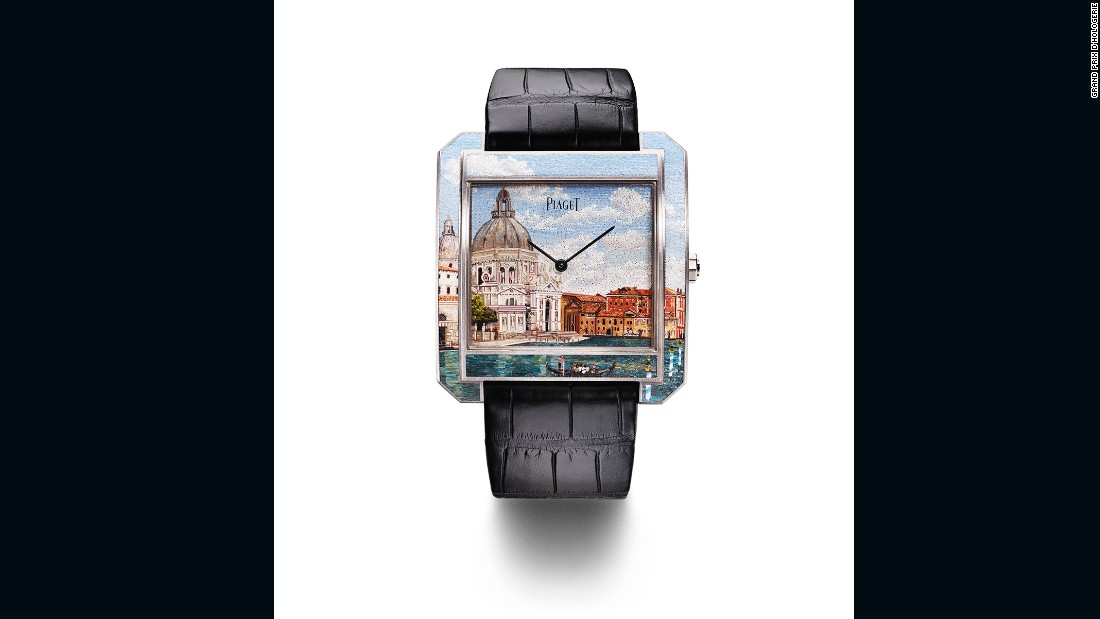 "The Protocole XXL ""Secrets and Lights"" Venice watch from Piaget took home the Artistic Crafts Watch Prize for its micro-mosaic illustration of the Santa Maria Della Salute basilica in Venice. Just three of these $250,000 watches were made, with the design on each handcrafted from nearly 5,000 miniscule glass tiles."