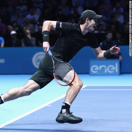 LONDON, ENGLAND - NOVEMBER 16:  Andy Murray of Great Britain sprints to the net during his mens singles match against Kei Nishikori of Japan on day four of the ATP World Tour Finals at O2 Arena on November 16, 2016 in London, England.  (Photo by Julian Finney/Getty Images)