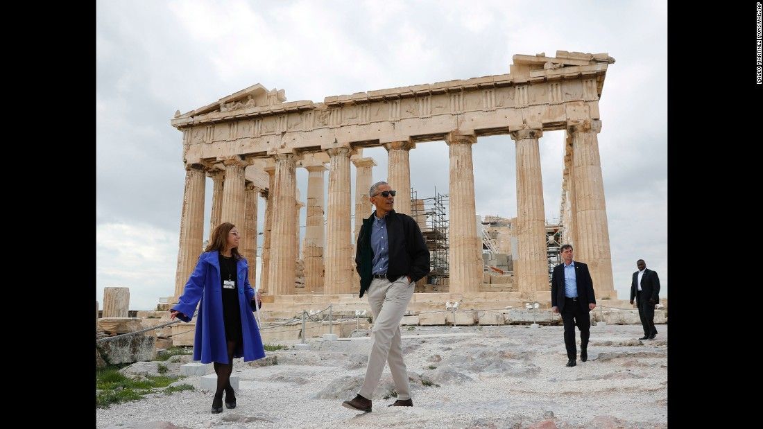Obama tours the Acropolis in Athens on November 16.