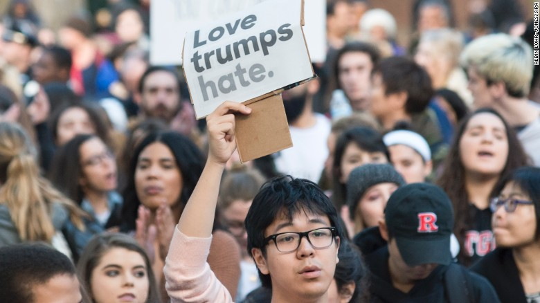 Nearly 1,000 students and faculty members at Rutgers University staged a rally in downtown New Brunswick, New Jersey, to protest President-elect Donald Trump on Wednesday, November 16. <a href=