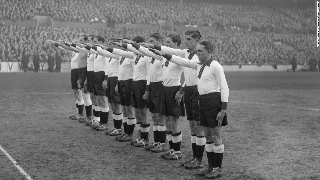 Social protest is also something undertaken by fans. Back on December 4, 1935, the German football team give the Nazi salute at White Hart Lane, the London home of Tottenham Hotspur. England fans protested outside the stadium before the mach, according to sports sociologist Joseph Maguire.
