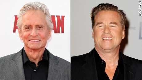 Michael Douglas, left, had suggested former co-star Val Kilmer had oral cancer, which Kilmer denied.