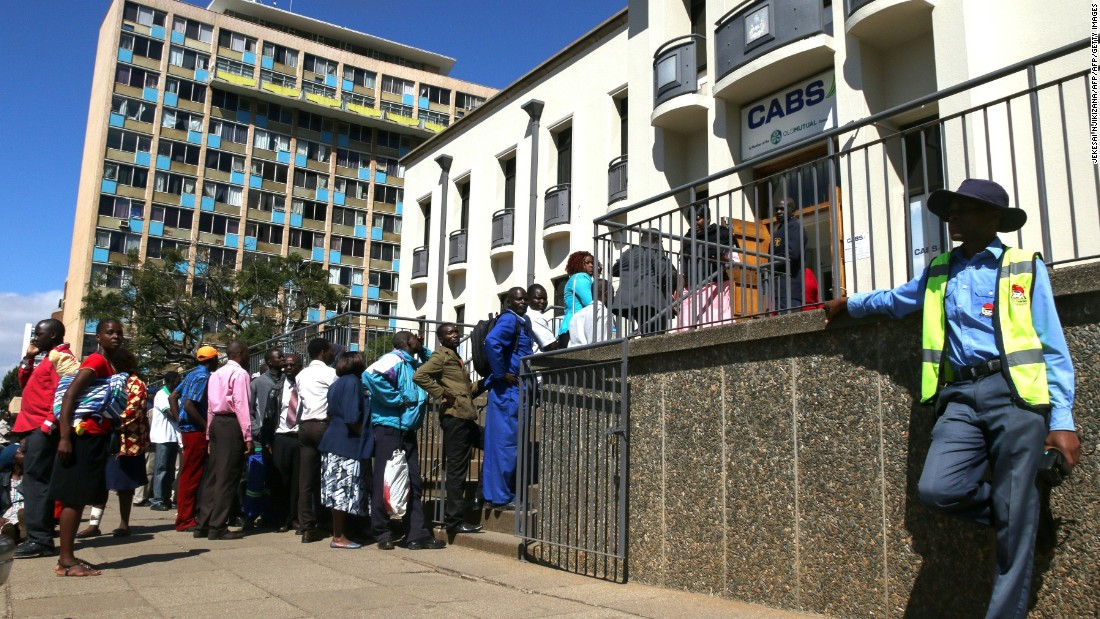 "Zimbabweans can queue for hours outside banks after the government slapped limits on cash withdrawals and announced the introduction of ""bond notes."""