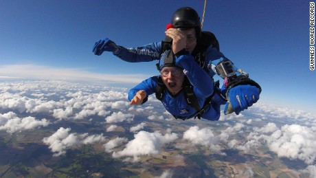 Ryan Mancey, the chief instructor from Go Sky Dive, did the jump with Rees. They'd been training for months to perform the difficult task as safely as possible.