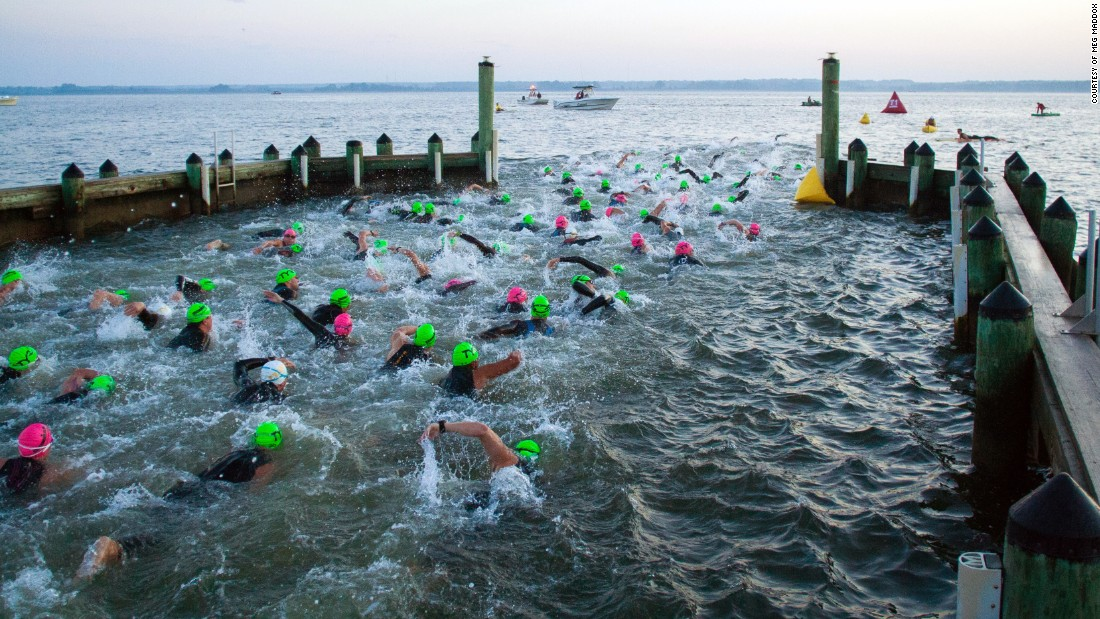 The swim portion takes place in the brackish water of the Chesapeake Bay, the country's largest estuary. The 2014 race is pictured.