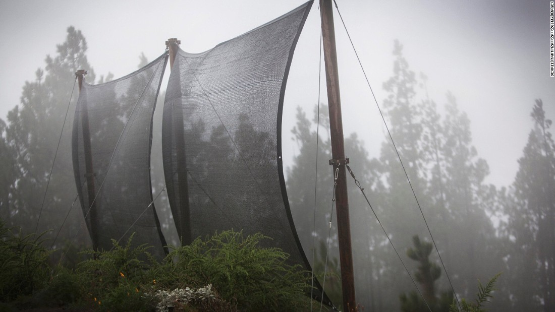 Tenerife, in the Canary Islands, is also home to large canvas fog collectors.