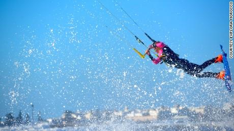 A kitesurfer catches some air off the coast of Essaouira.