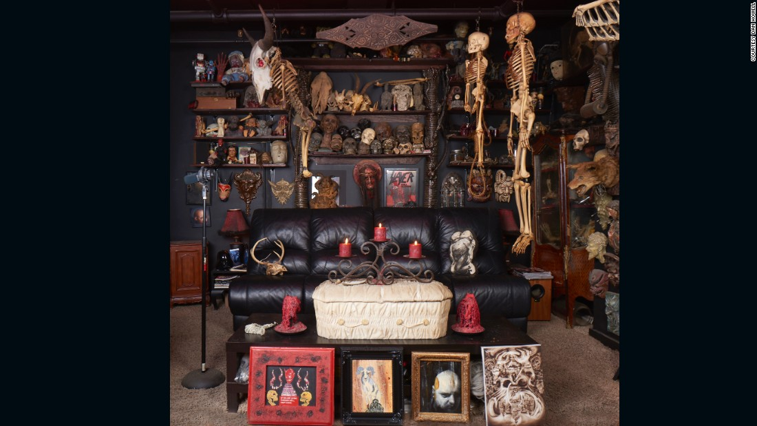 "Bones, bones everywhere. Tattoo artist Paul Booth considers himself a ""decorator of the macabre."" His interest in collecting was sparked by his travels. He would often find strange and unusual items when visiting antique stores and mortuaries in small European cities."