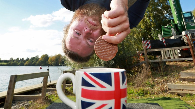 Record-breaker's extreme bungee tea dunk