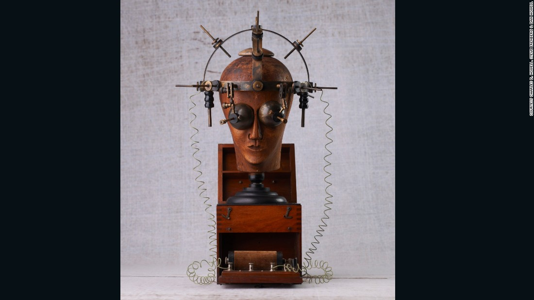 Steve Erenberg, whose dad is also a collector of morbid curiosities, is particularly interested in early electrical devices, like this bizarre helmet. In the early 20th century, a spa-goer would wear this to receive low-voltage shocks to their entire face.