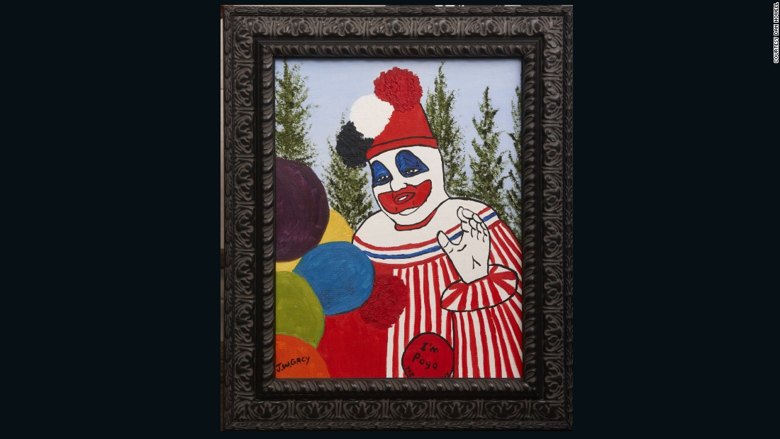 "Nathan Roberts owns a number of items belonging to criminals, like this ""Pogo"" painting produced by an imprisoned John Wayne Gacy."