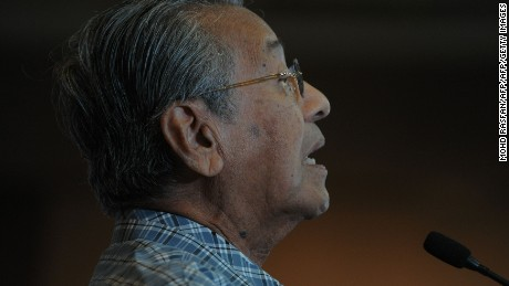 Malaysia's former Prime Minister Mahathir Mohamad addresses supporters during a rally in Shah Alam, outside Kuala Lumpur in March.