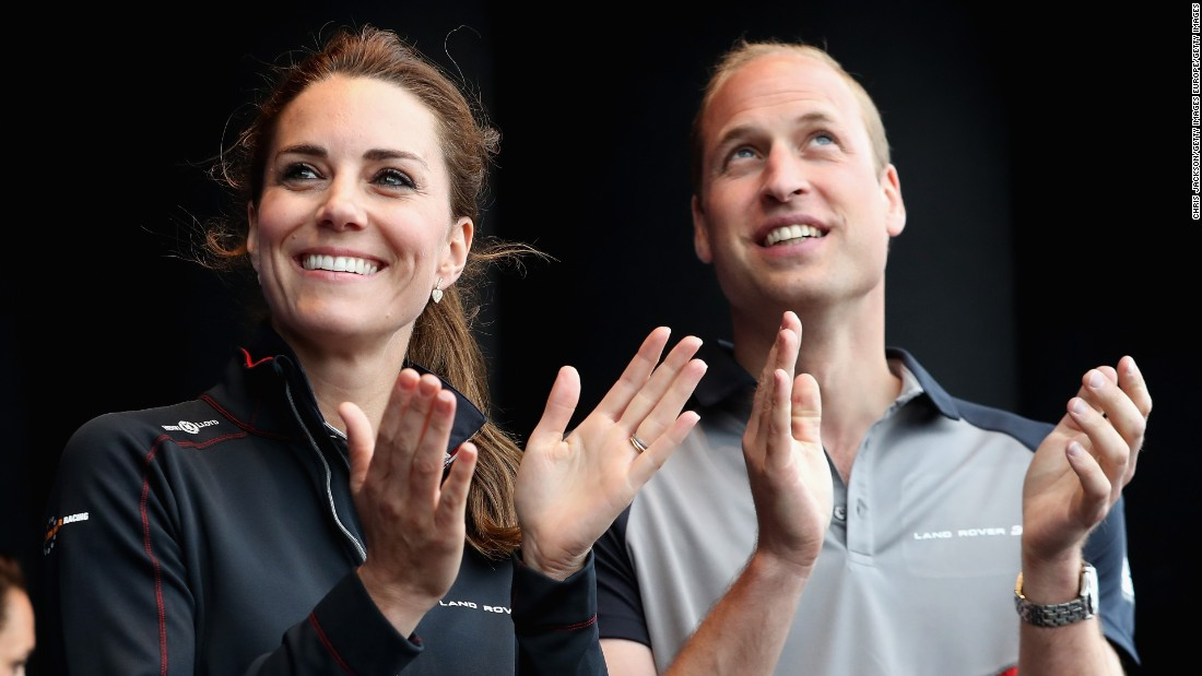Royal couple Catherine, Duchess of Cambridge and husband Prince William, Duke of Cambridge, enjoyed America's Cup competition off Portsmouth, England, in July.