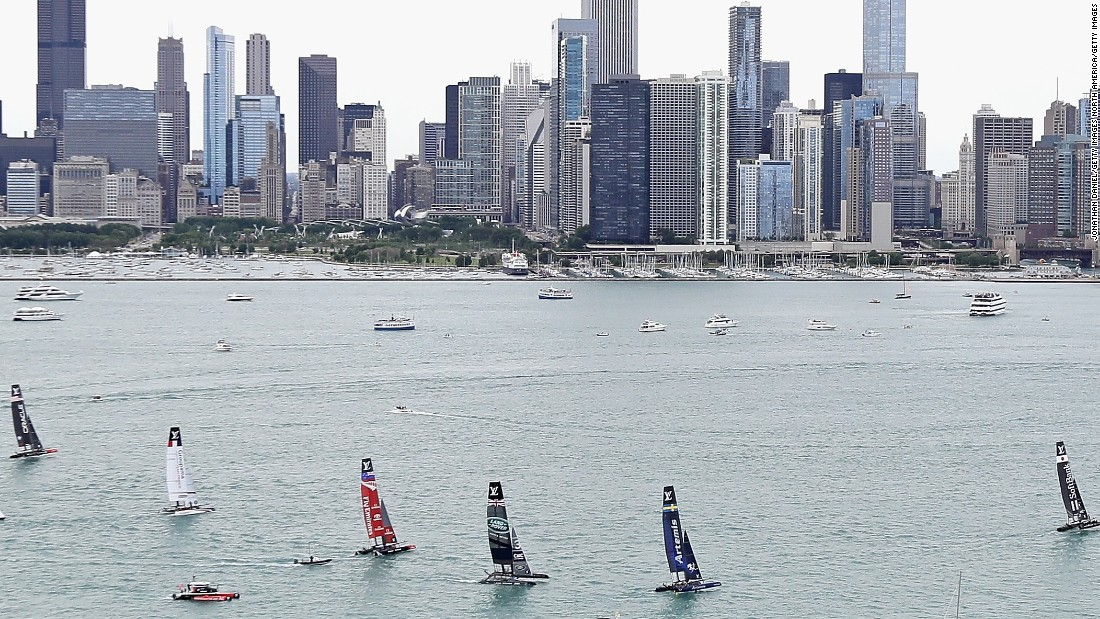 Competitors pictured in the first freshwater races in the event's history on Lake Michigan in June.