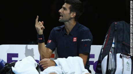 LONDON, ENGLAND - NOVEMBER 17:  Novak Djokovic of Serbia gestures to the umpire in his men's singles match against David Goffin of Belgium on day five of the ATP World Tour Finals at O2 Arena on November 17, 2016 in London, England.  (Photo by Julian Finney/Getty Images)