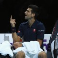 Djokovic remonstrates with umpire atp finals
