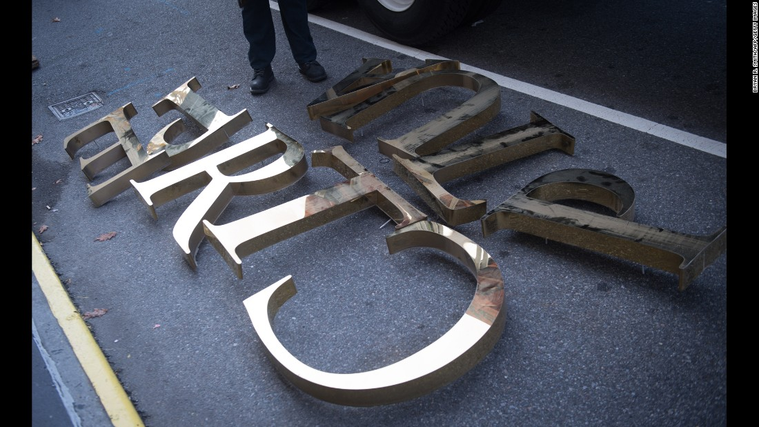"Letters lie on the sidewalk after they were taken off a Trump Place high rise in New York on Wednesday, November 16. ""Trump Place"" signs <a href=""http://money.cnn.com/2016/11/16/news/companies/trump-place-name-change/"" target=""_blank"">were removed from three apartment buildings</a> along the Hudson River in Manhattan. They are being renamed with just their street addresses. The Trump Organization sold the buildings more than a decade ago to Equity Residential, a Chicago-based real estate company. The company's chairman told CNBC that the company just wants to be politically neutral."