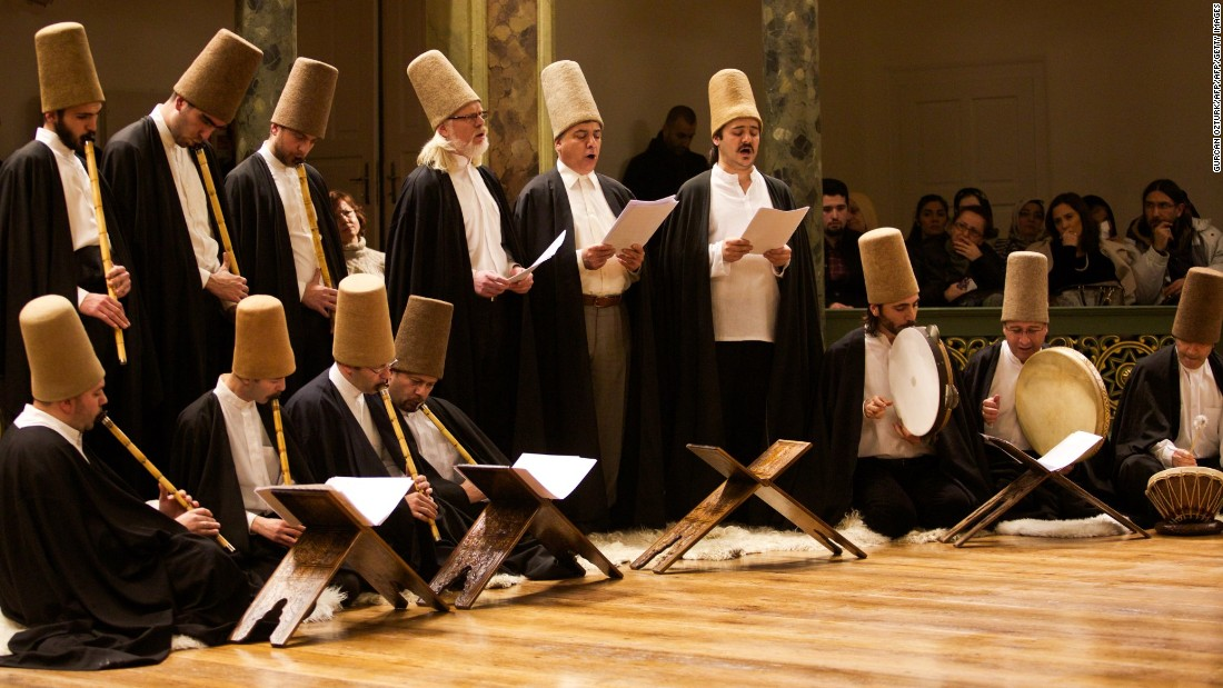 Whirling dervishes deliver a concert at the Galata Mevlevihane in Istanbul.