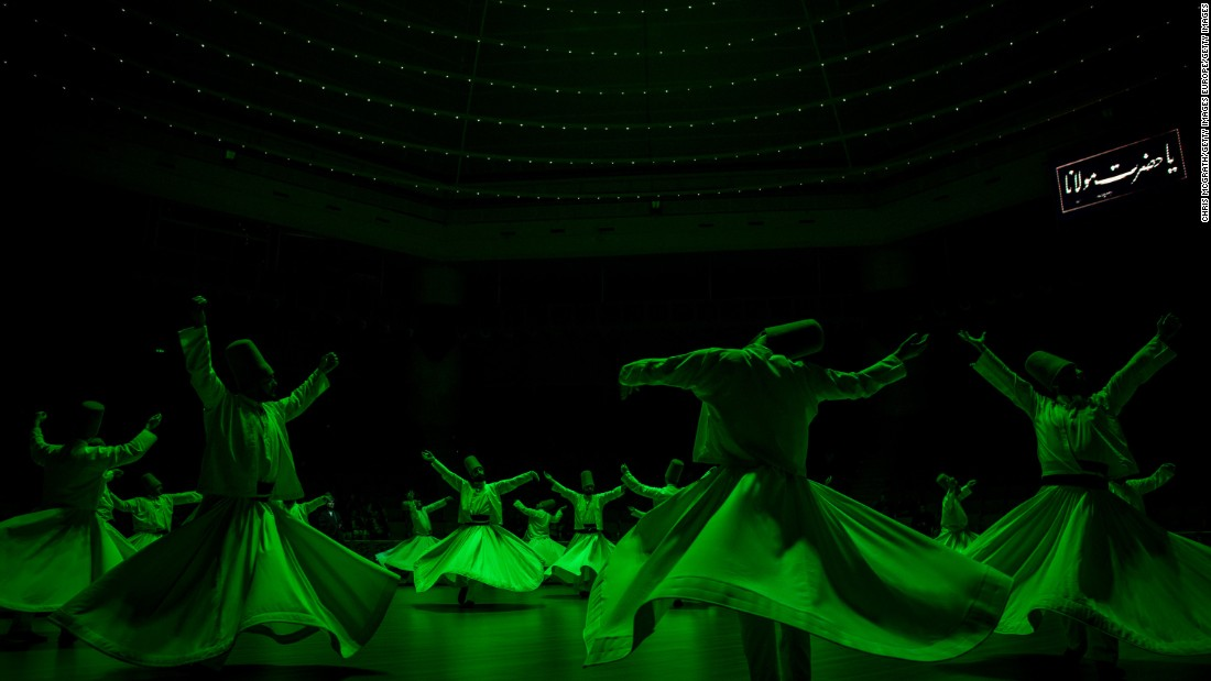 Whirling Dervishes perform a Sema ceremony in Konya, Turkey. <br /><br />The Dervishes - also known as Mevlevi - are followers of Jalal ad-Din Muhammad Rumi, the legendary Sufi mystic poet who died in 1273.