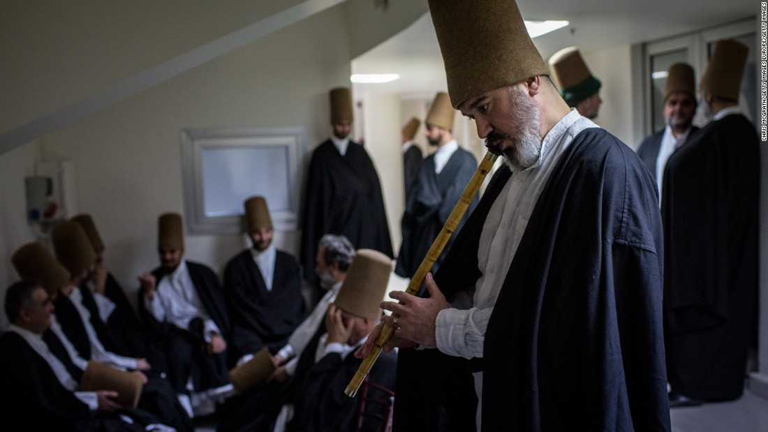 Dervishes backstage before a performance in Konya.
